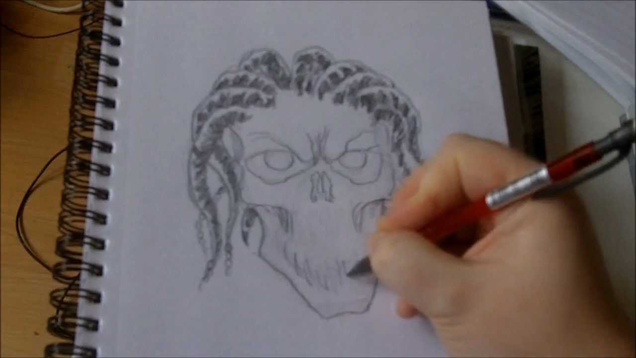 How To Draw A Skull With Dreadlocks
