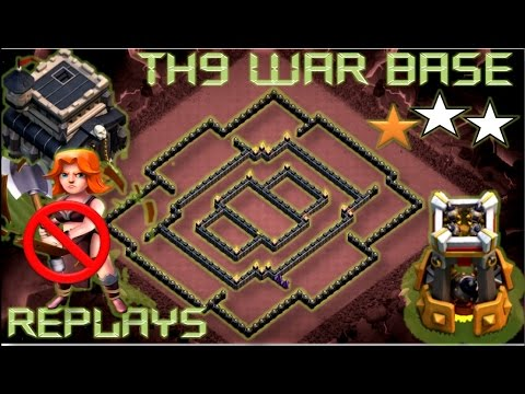th 9 town hall 9 anti 2 stars war base anti 3 stars war base replay proof clash of clans - Stars War