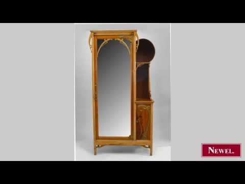Antique French Art Nouveau maple and inlaid armoire cabinet