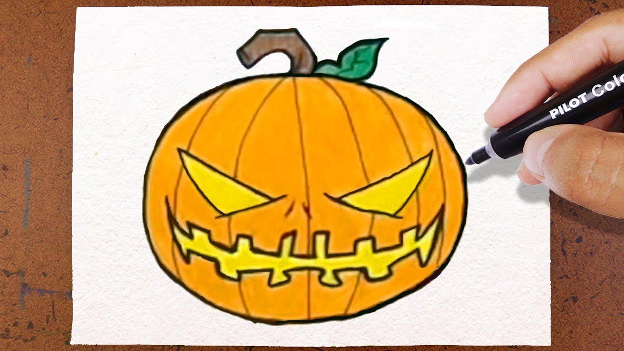 Como Desenhar E Pintar Abobora De Halloween Youtube