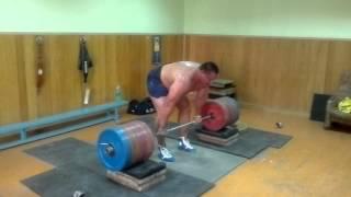 Koklyaev deadlift from high bar position 14 cm. 885,5 LB /  402,5 KG, 4 reps
