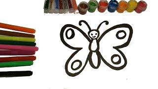 Glitter batterfly draw with colors Как нарисовать бабочку Уроки Раскраска