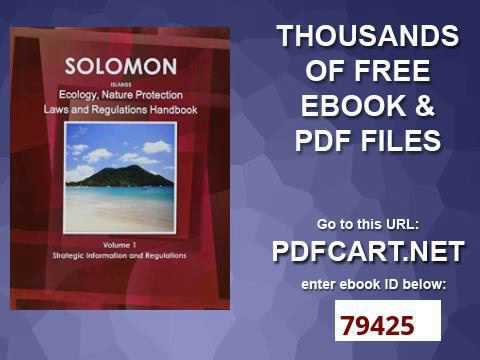 Solomon Islands Ecology & Nature Protection Laws and Regulation Handbook World Law Business Libr