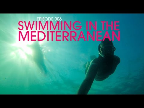 Swimming in the Mediterranean - Backpack Europe 006