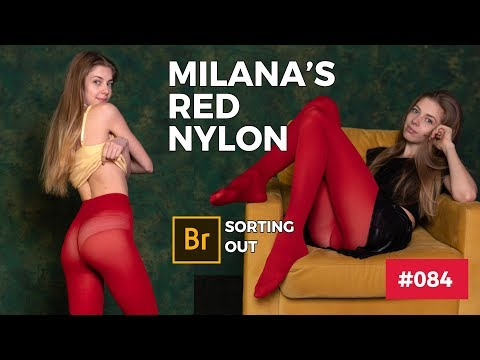 Milana's Red Tights Session #084 -  Pantyhose Art Magazine