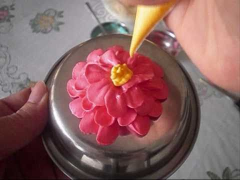 Cake Decorating How To Make Flowers : cake decorating: how to pipe a buttercream zinnia flower ...