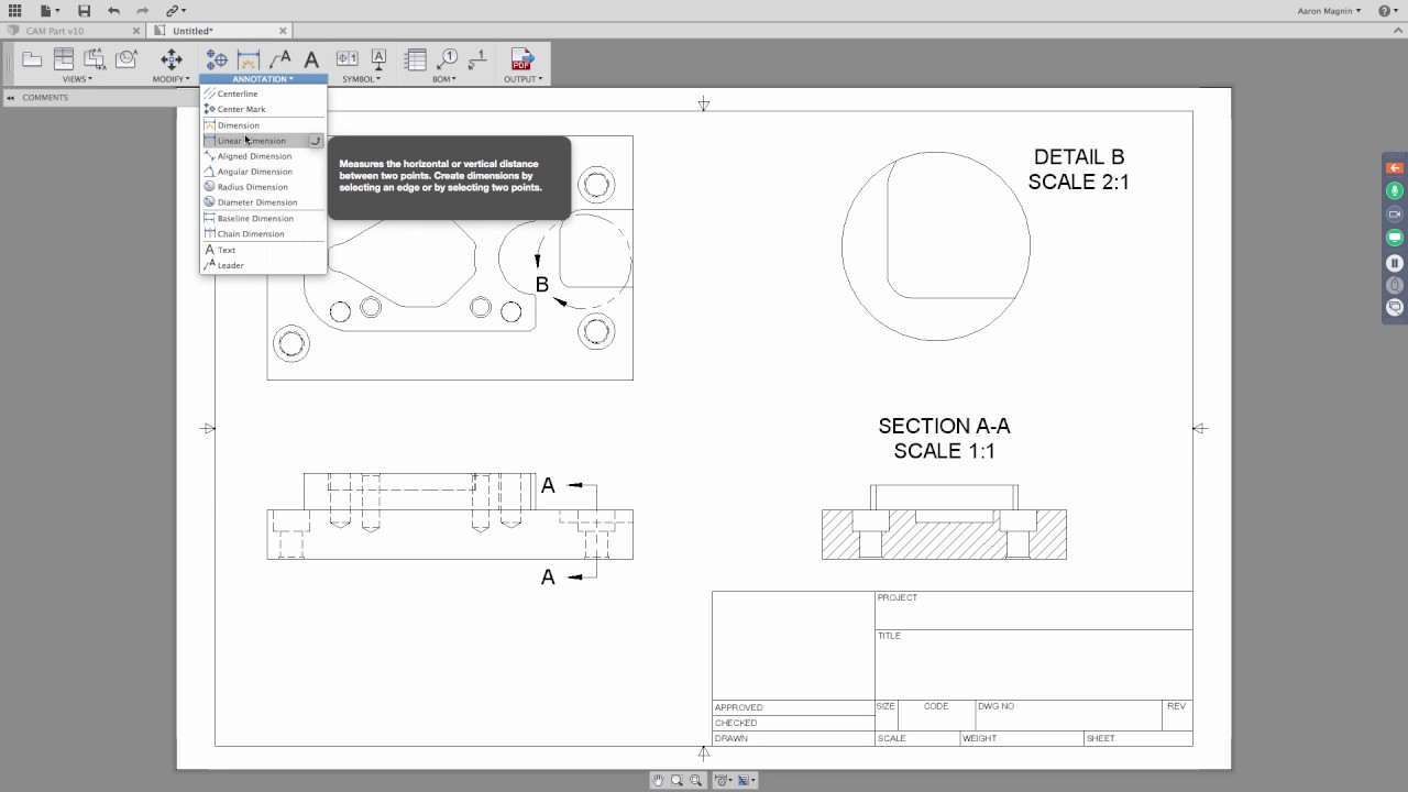 FUSION 360 Drawing - Dimensions