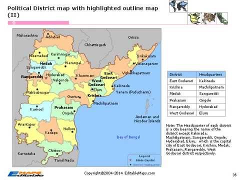 Andhra Pradesh Editable Map - YouTube on