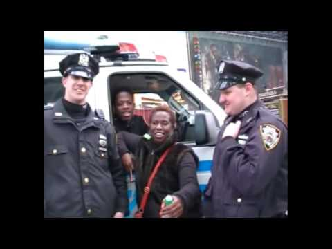 Cheryl Francis Harrington in Time Square With New York's Finest NYPD
