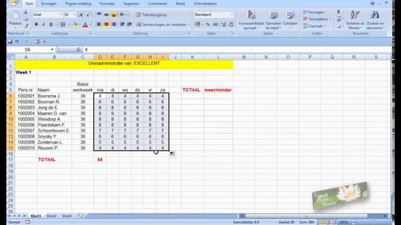 uren optellen in excel 2007