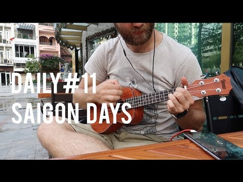 Daily#11 Saigon Life Market Cinema Playing Accordion and Uke in District 1