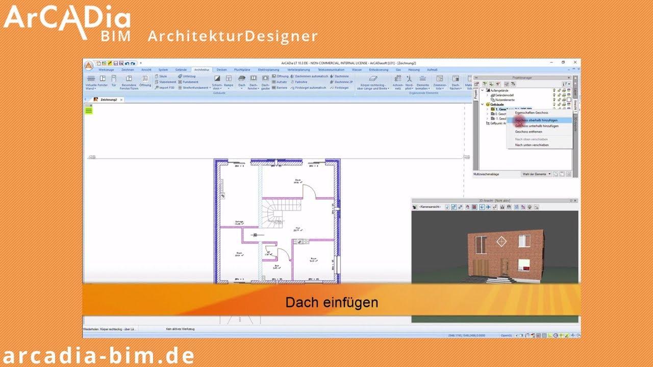 dach einfügen in arcadia bim architekturdesigner   hausplanung