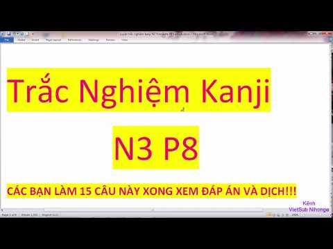 Luyện trắc nghiệm kanji N3 P8 15 câu mõi ngày Đáp án VietSub