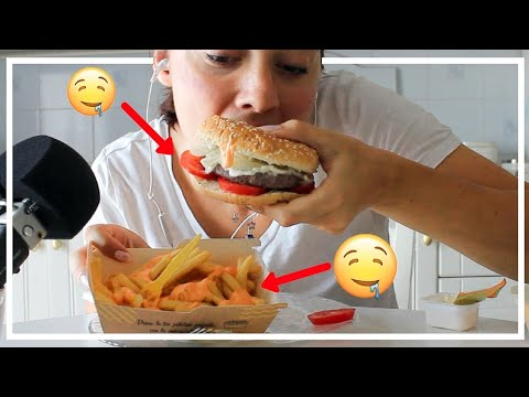 ASMR | EATING HAMBURGER and MCDONALD FRIES