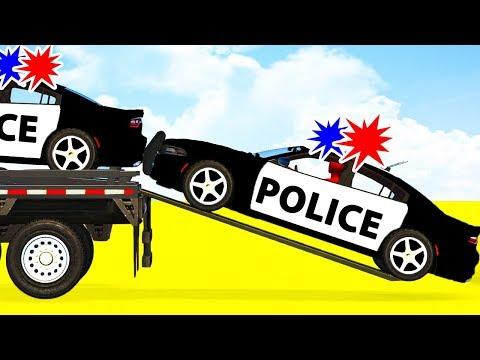 Thumbnail: LEARN COLOR w Police Cars Transportation - Spiderman Cartoon for Babies Superheroes for Kids!