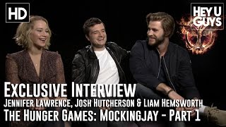 Jennifer Lawrence Josh Hutcherson amp Liam Hemsworth Interview The Hunger Games Mockingjay - Part 1