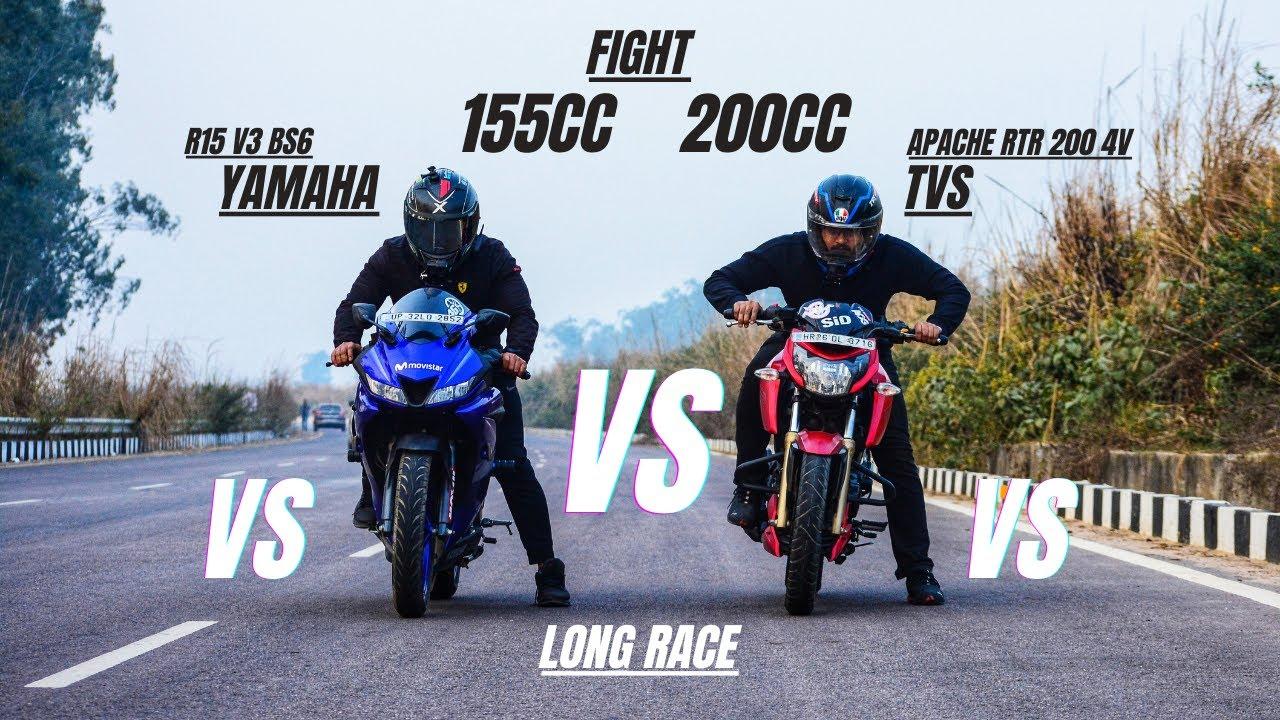 Download Yamaha R15 V3 Bs6 Vs Tvs apache Rtr 200 4v  which one is faster 155cc or 200cc | Halke Mai Na Lena