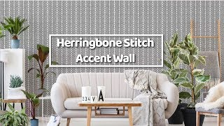 How To Stencil a Herringbone Stitch Feature Wall