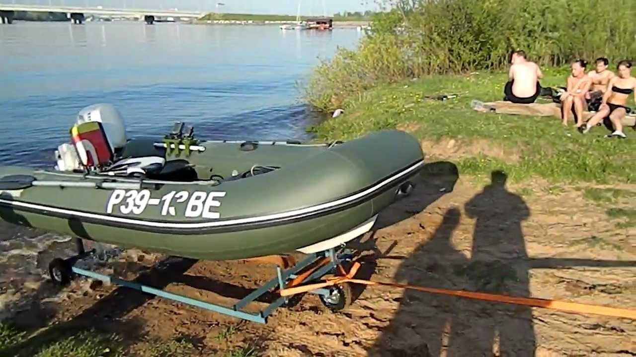 погрузка лодки на прицеп