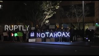 USA  San Diego protesters hold 'climate change is not a hoax' rally