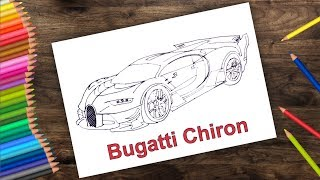 How to draw Bugatti chiron car very easy | Draw bugatti car