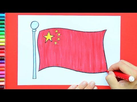 How to draw and color the National Flag of China