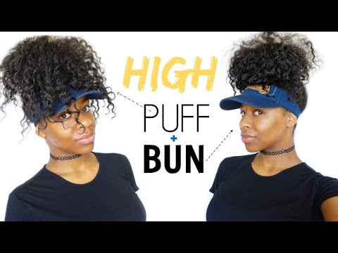 hair styles to do with curly hair easy hairstyles high curly puff amp bun diy visor 3044 | hqdefault
