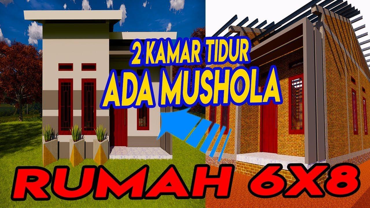 Desain Rumah Minimalis 6x8 Meter Denah Rumah 2 Kamar Dengan Mushola Minimalis Youtube