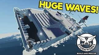 MILITARY RESCUE & MASSIVE WAVE CAPSIZING SHIP! - Stormworks: Build and Rescue Update Gameplay