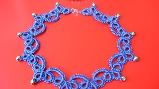 Repeat youtube video 21' TUTORIAL SEMPLICE COLLANA CHIACCHIERINO AD AGO EASY NECKLACE NEEDLE TATTING