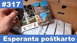 En mia kelo estas skatolo kun mil esperantaj poŝtkartoj | Box with  thousand Esperanto postcards