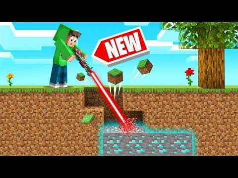 Playing MINECRAFT With A LASER MINING TOOL! (Easy Diamonds)