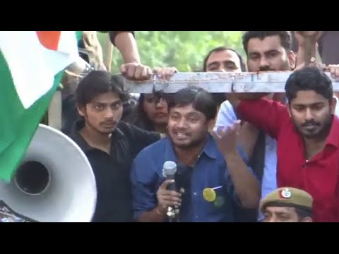 Fearless Kanhaiya again attacks  Modi Govt, BJP & RSS , Speech at Parliament Street , 15th March