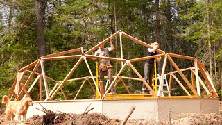 Building a Geodesic Growing Dome Greenhouse in the Forest, Ep1