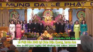 Thông báo Lễ Phật Đản Chùa Diệu Quang, Santa Ana  2019 LSTV