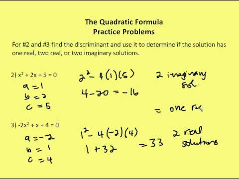 4.8 Quadratic Formula and Discriminant (Practice) - YouTube