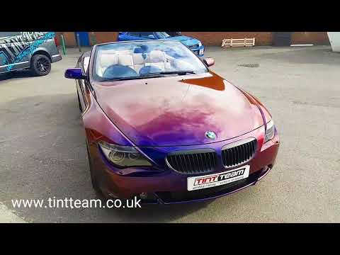 Bmw 6 wrapped in Avery colour flow gloss roaring thunder.