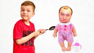 Андрей и папа собираются показать как забавно играть