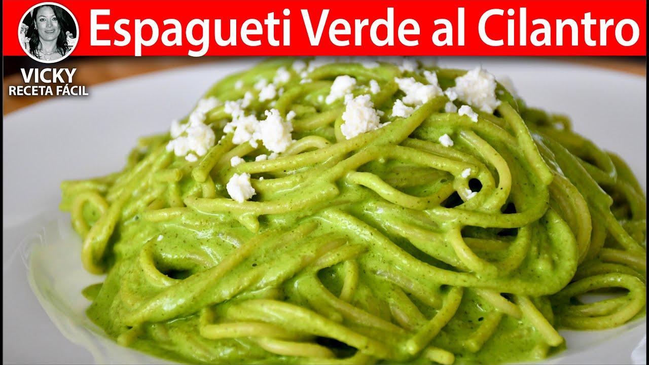 Espagueti Verde al Cilantro | #VickyRecetaFacil