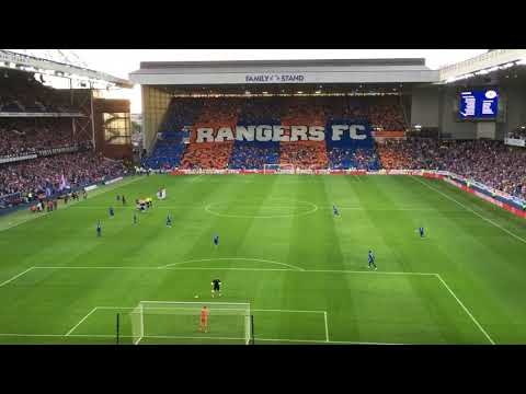 Rangers 2-0 Shkupi Players walk out Fans sing Simply The Best, Blue Sea of Ibrox