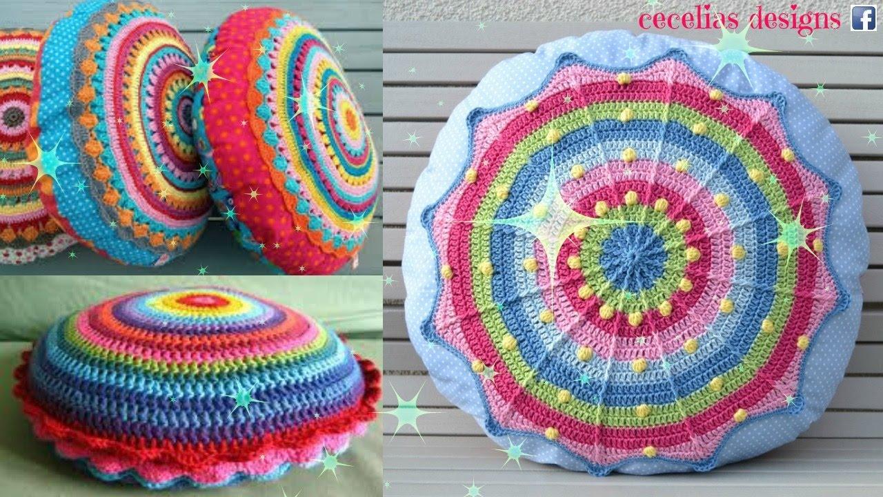 Crochet Round cushion - YouTube