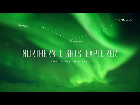 Northern Lights Explorer train in Festive winter Russia. Moscow - St.Petersburg - Murmansk aerial