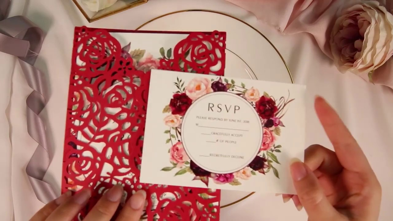 stunning red and burgundy rose floral laser cut wedding invitations ...