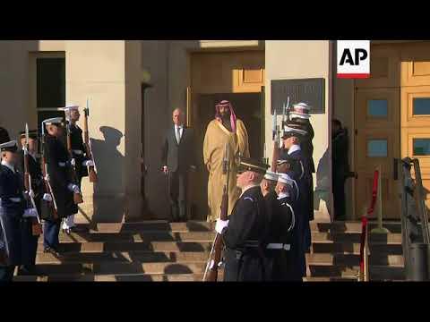 US defence secretary welcomes Saudi crown prince to Pentagon
