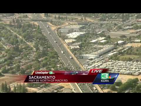 Hay truck fire causes major backup on Hwy. 99 in south Sacramento