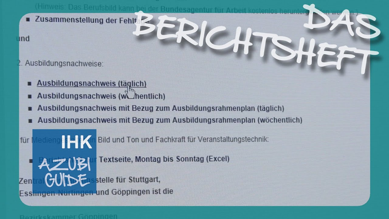 Berichtsheft Tutorial   YouTube
