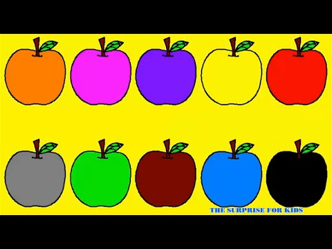 Learn Colours For Kids With Apples Balloons Colouring Page | The Surprise For Kids