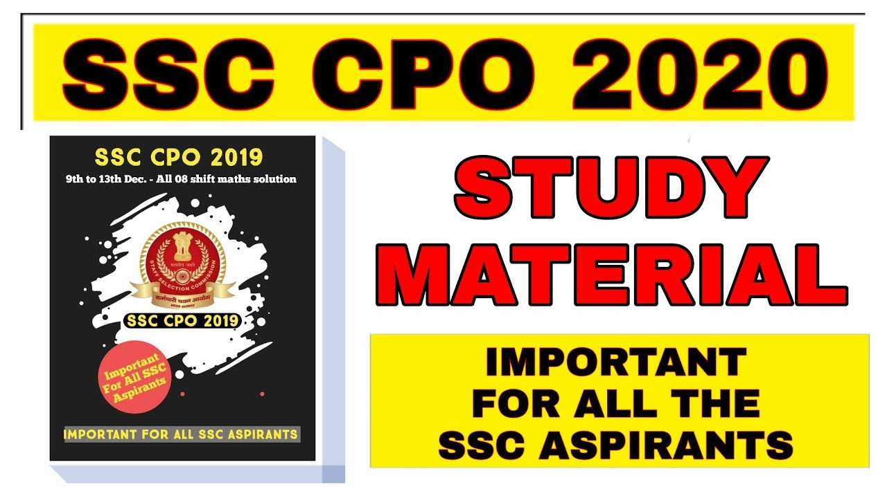 SSC CPO 2020 STUDY METARIAL | SSC CPO 2019 solve paper| SSC CPO 2019 pre maths solution pdf download