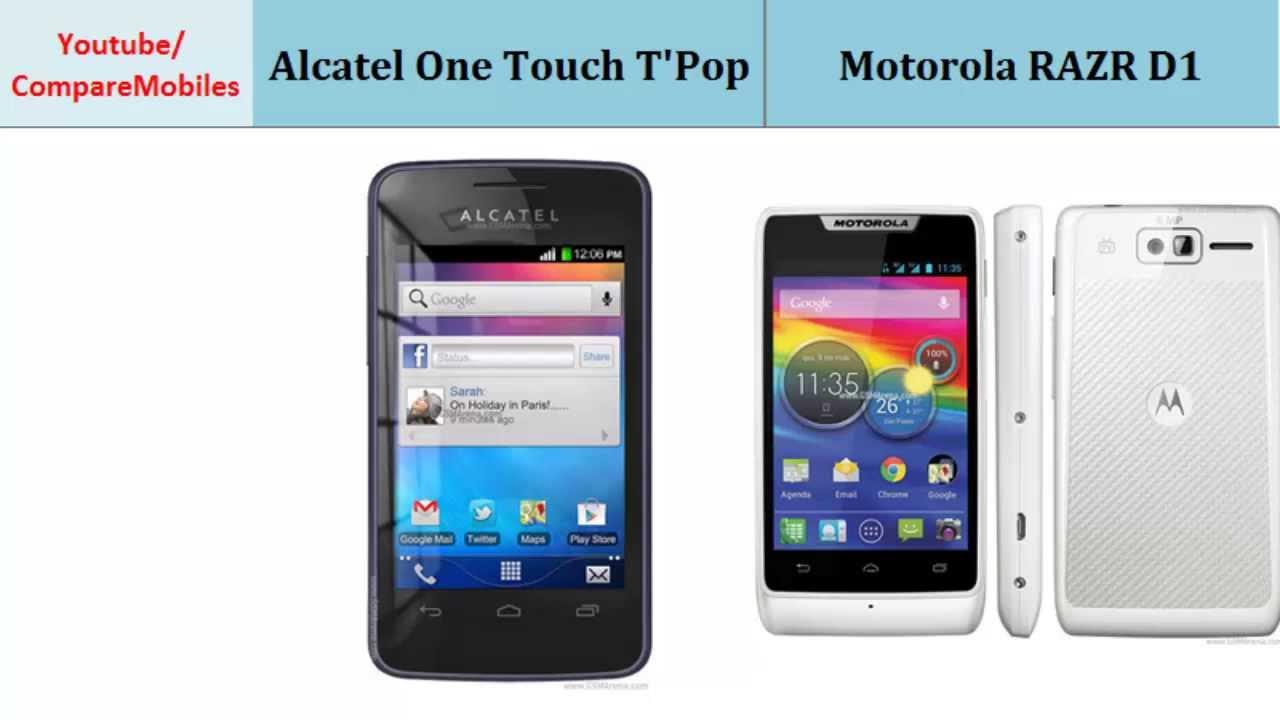 Alcatel One Touch T'Pop vs Motorola RAZR D1, Quick Full Specs Comparison