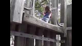 my little 2 year old lehya sliding down a pole